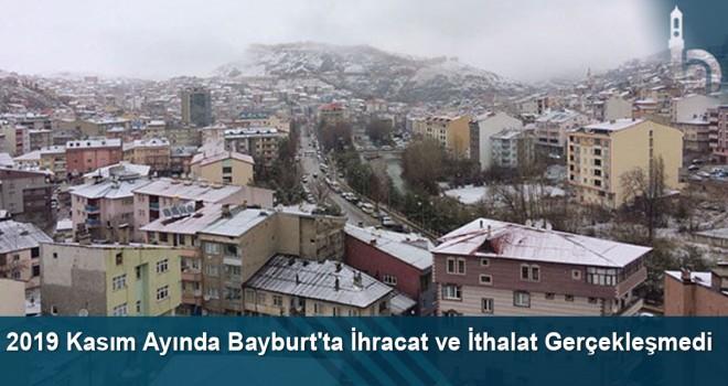 2019 Kasım ayında Bayburt'ta ihracat ve ithalat gerçekleşmedi