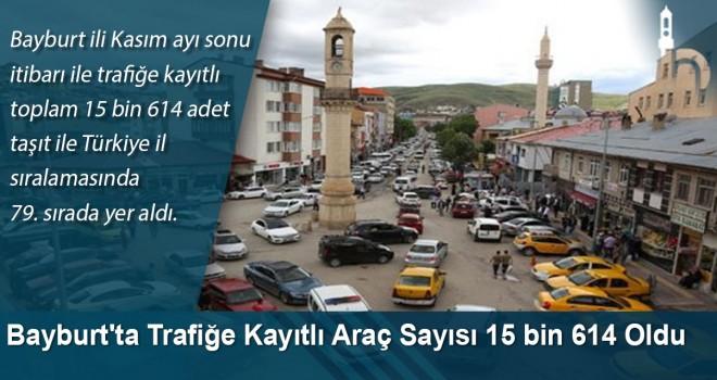 Bayburt'ta Trafiğe Kayıtlı Araç Sayısı 15 bin 614 Oldu