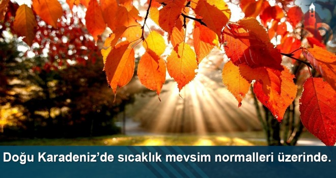 Doğu Karadeniz'de sıcaklık mevsim normalleri üzerinde.