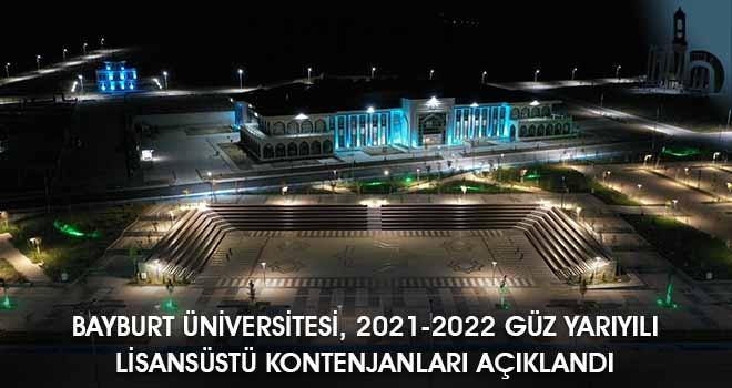 Bayburt Üniversitesi, 2021-2022 Güz Yarıyılı Lisansüstü Kontenjanları Açıklandı