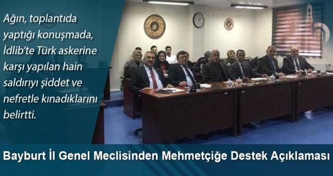 Bayburt İl Genel Meclisinden Mehmetçiğe Destek Açıklaması