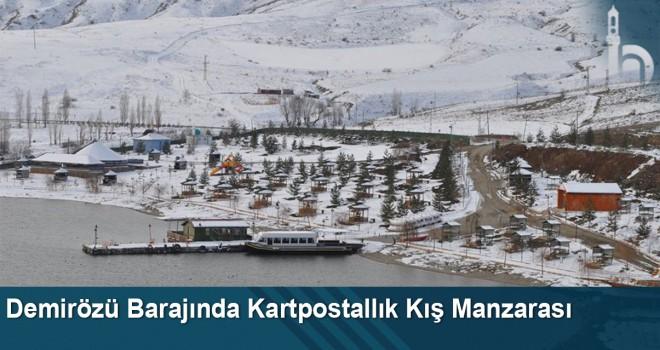 Demirözü barajında kartpostallık kış manzarası
