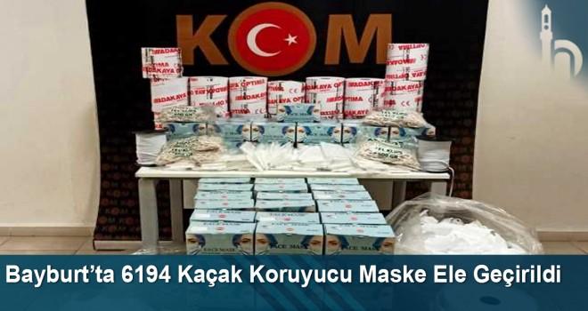 Bayburt'ta 6194 Kaçak Koruyucu Maske Ele Geçirildi