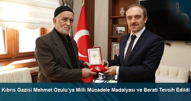 Kıbrıs Gazisi Mehmet Ozulu'ya Milli Mücadele Madalyası ve Beratı tevcih edildi